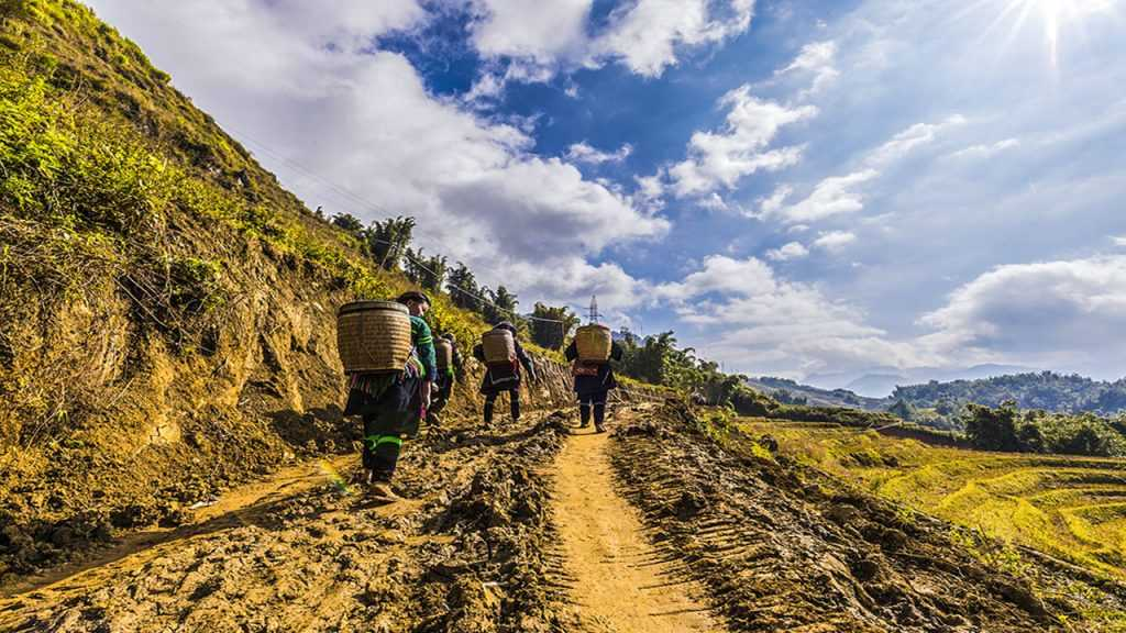 Trekking with Black Hmong women in Sapa.