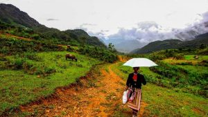 Trekking down hill Sapa